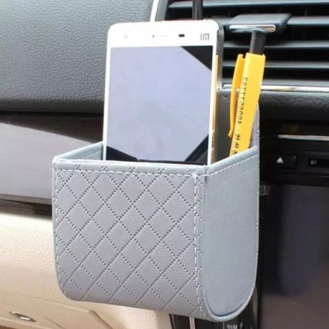 Car Accessories Air PU Box Organizer Phone Pocket Pouch Vehicle Bag Holder Gray