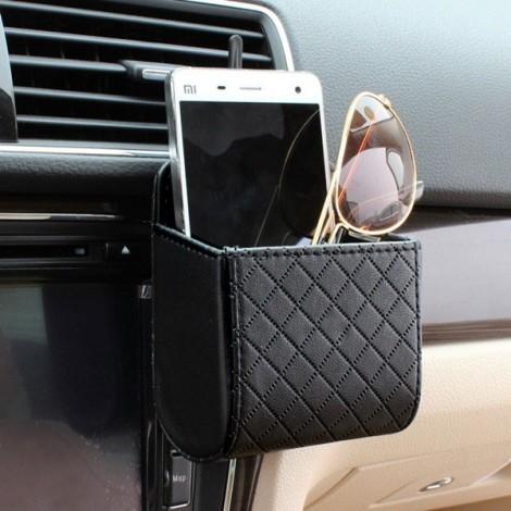 Car Accessories Air PU Box Organizer Phone Pocket Pouch Vehicle Bag Holder Black