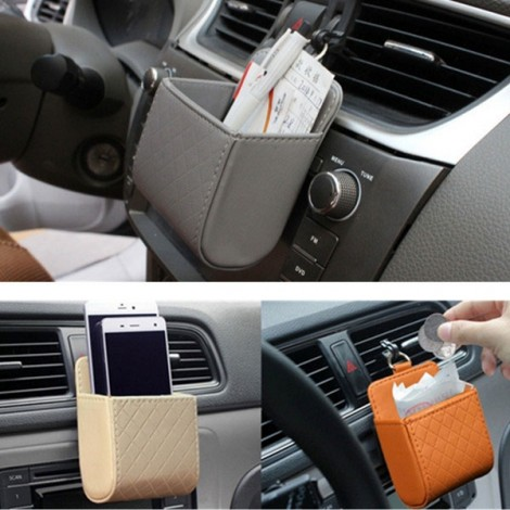 Car Accessories Air PU Box Organizer Phone Pocket Pouch Vehicle Bag Holder Brown