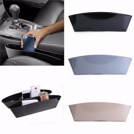 2pcs Car Seat Storage Boxes Organizer Case Protect Catch Catcher Slit Pockets Gray