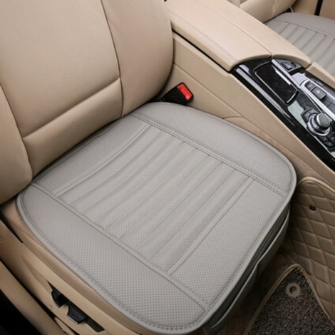 Universal Seat Cushion PU Leather Car Seat Cover for Auto Car Office Chairs Gray