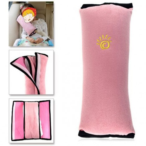 Cute Children Car Seat Belt Shoulder Protection Back Cushion Pillow Pink