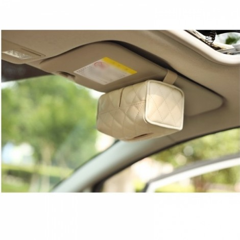 Newfashioned Car Tissue Box Hanging Style Automotive Supplies Beige