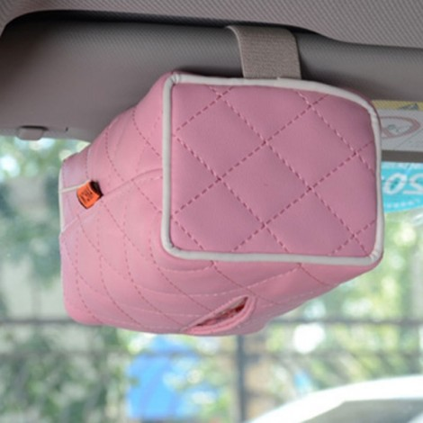 Newfashioned Car Tissue Box Hanging Style Automotive Supplies Pink