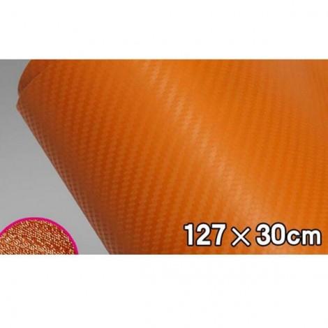127 x 30cm DIY Personalized 3D Car Sticker Carbon Fiber Film Vinyl Orange
