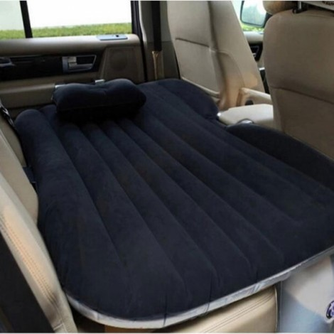 Self-drive Inflatable Car Bed Air Mattress Camping Car Back Seat Rest Inflatable Mattress without Ear Black