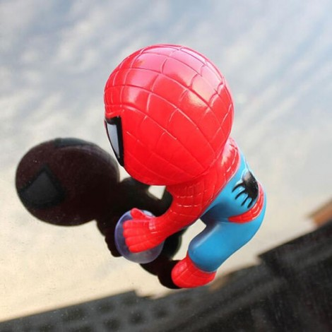 Spider Doll Window Sucker Climbing Spiderman Toy Car Home Ornament Red