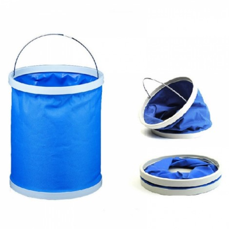 11L Retractable Folding Portable Fishing Bucket Car Wash Water Bucket Barrel Blue