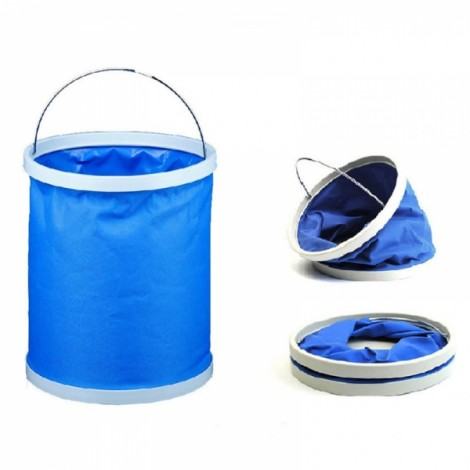 9L Retractable Folding Portable Fishing Bucket Car Wash Water Bucket Barrel Blue