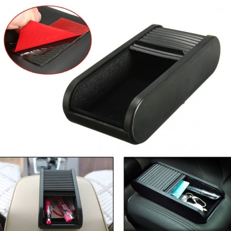 Car Storage Box Pulling Style Plastic Pocket Telescopic Dash Mobile Phone Coins Holder Black