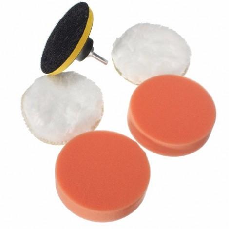 "6pcs 3"" Sponge and Woolen Polishing Buffing Pad Kit for Car Polisher"