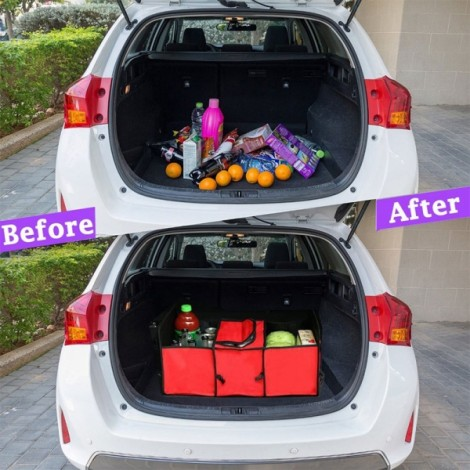 Multifunctional Collapsible Car Boot Travel Storage Bag Non-woven Tool Organizer Red
