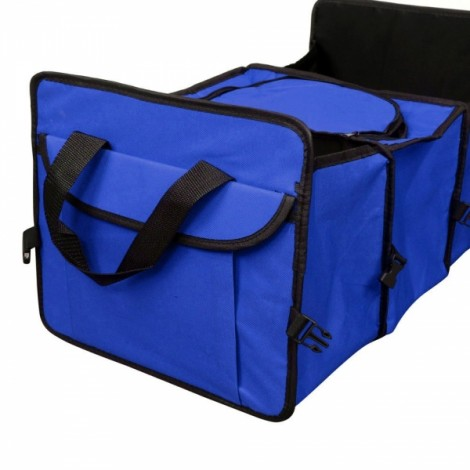 Multifunctional Collapsible Car Boot Travel Storage Bag Non-woven Tool Organizer Blue