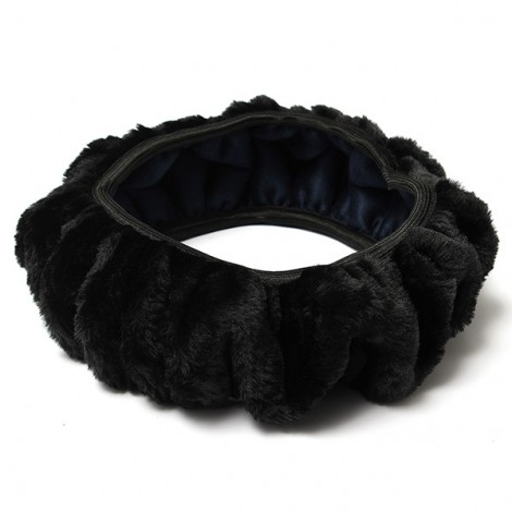 Warm Plush Winter Car Steering Wheel Cover Soft Auto Accessories Black