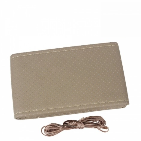 38cm Non-slip Breathable PU Leather Car Punching Steering Wheel Cover Vehicle Decoration Beige