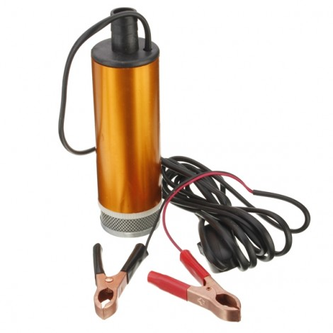24V Mini Portable Aluminum Alloy Diesel Water Oil Submersible Pump with Removable Filter