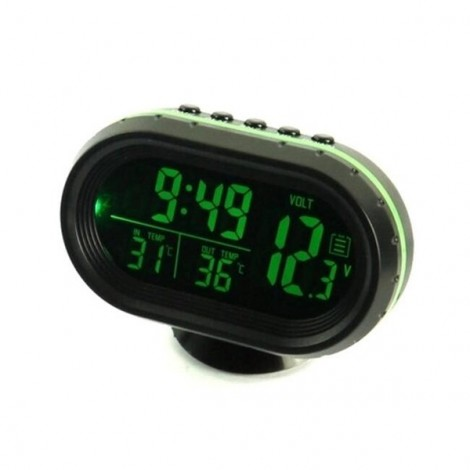 4 In 1 Digital LCD Monitor Car Thermometer Voltage Meter Alarm Clock (12V-24V) Green