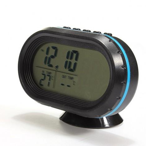 4 In 1 Digital LCD Monitor Car Thermometer Voltage Meter Alarm Clock (12V-24V) Blue