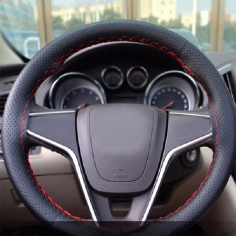 DIY Car Steering Wheel Cover with Needles and Thread Black & Red