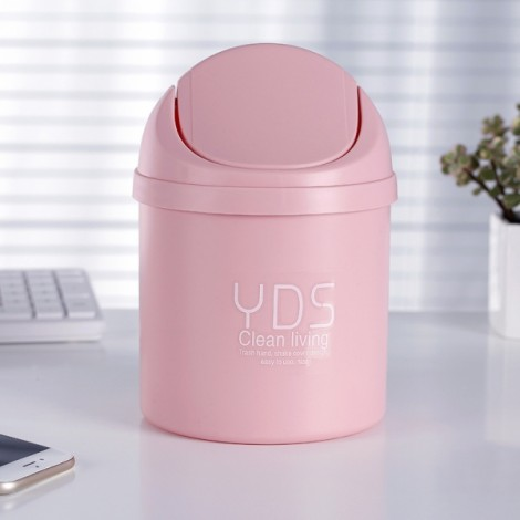 Creative Shake Cover Mini Trash Can Multifunctional Office Desktop Garbage Bucket Plastic Trash Bin Pink
