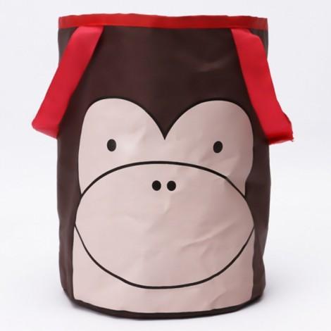 Cute Cartoon Foldable Vehicle Hanging Trash Can Waste Bin Storage Bag Brown Monkey Pattern