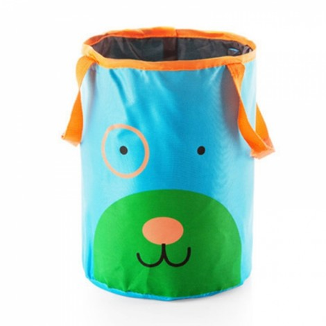 Cute Cartoon Foldable Vehicle Hanging Trash Can Waste Bin Storage Bag Blue Dog Pattern
