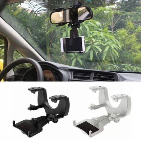 Universal Car Rear View Mirror Bracket Mount Holder for 4-6.3 inch Smartphone Black