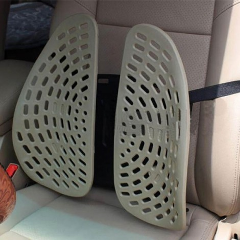 Car Seat Chair Massage Back Lumbar Support Mesh Ventilate Cushion Pad Beige