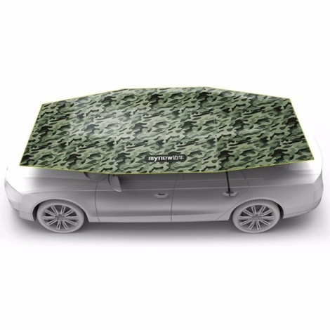 Mynew Portable Removable Semi-automatic Car Umbrella Sunshade Cover Camouflage