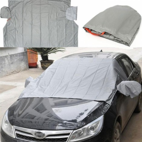240 x 180cm Magnetic Car Windscreen Cover Anti Snow Frost Ice Cotton Window Mirror Protector Gray