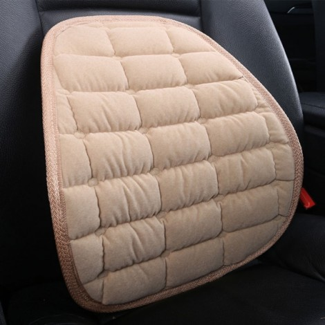 Winter Car Seat Chair Waist Back Support Flocking Plush Cushion Pad Beige