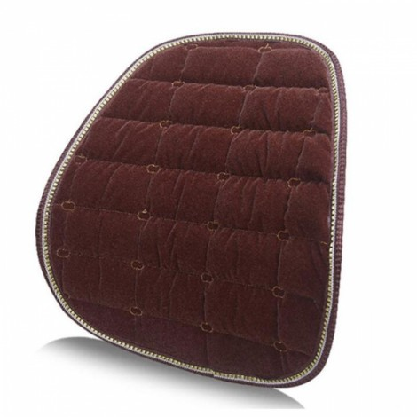 Winter Car Seat Chair Waist Back Support Flocking Plush Cushion Pad Coffee