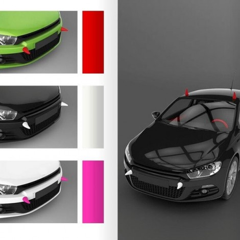 2pcs Demon Horn Creative EVA 3D Sticker Anti-collision Car Styling Roof Body Cool Decoration Badges Pink