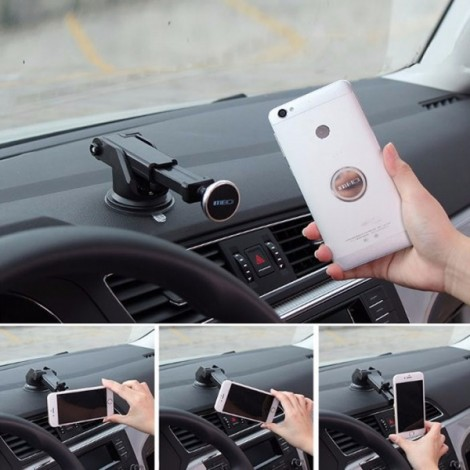 MEIDI Magnetic Phone Holder Stand Suction Car Center Console Windshield for iPhone Samsung Xiaomi Silver