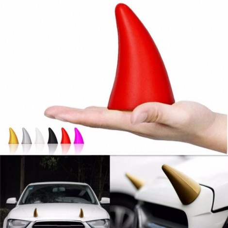 2pcs Demon Horn Creative EVA 3D Sticker Anti-collision Car Styling Roof Body Cool Decoration Badges Red