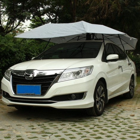 Mynew Portable Removable Semi-automatic Car Umbrella Sunshade Cover Silver