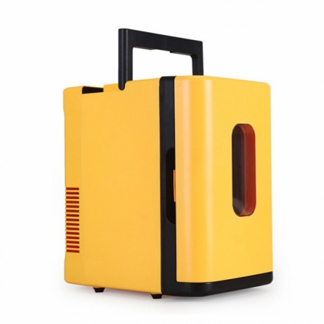 10L Mini Car Auto Home Camping Fridge Electric Cool Box Cooler and Warmer Yellow
