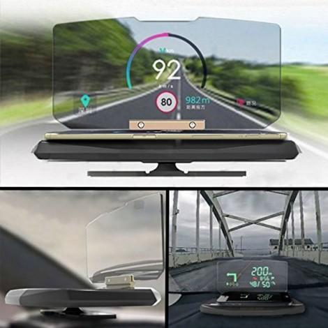 HUD Head up Display Car Cell Phone GPS Navigation Image Reflector Holder Mount English Black