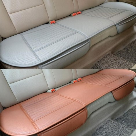 PU Leather Car Vehicle Interior Long Rear Seat Cushion Backseat Cover Gray