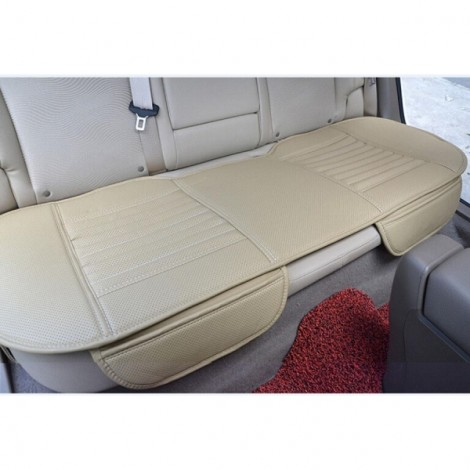 PU Leather Car Vehicle Interior Long Rear Seat Cushion Backseat Cover Beige