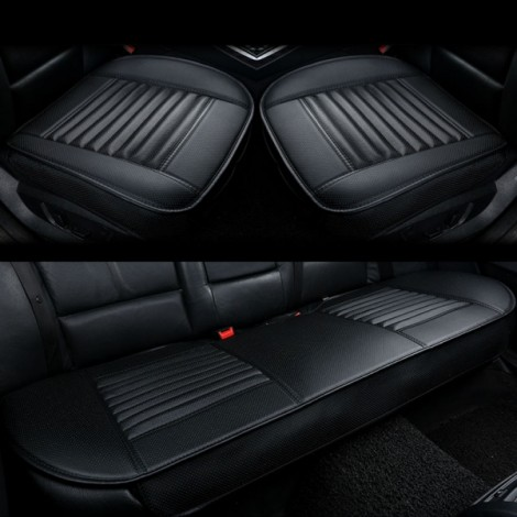 3pcs/Set 3D Leather Car Seat Cushion Car Bamboo Charcoal Single Driver Seat Cover for All Sedan Black