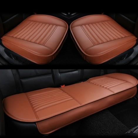3pcs/Set 3D Leather Car Seat Cushion Car Bamboo Charcoal Single Driver Seat Cover for All Sedan Orange