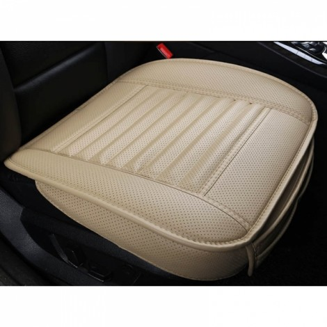 PU Leather Cushion Car Seat Cover Side Full Cover Seats Protect Mat Beige