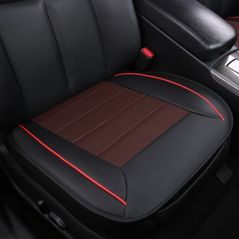 50x50cm PU Leather Car Cushion Seat Chair Cover Auto Interior Pad Mat Black & Coffee