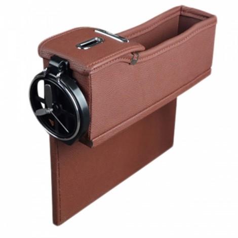1pc PU Leather Left Car Seat Catcher Gap Storage Box Coin Organizer Cup Holder Mocha