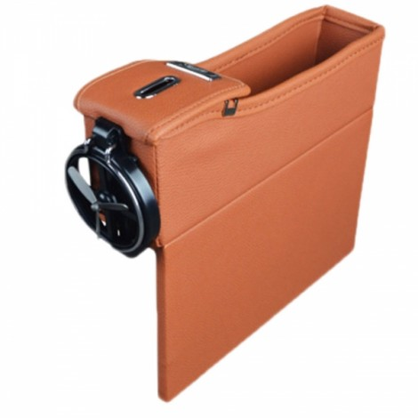 1pc PU Leather Right Car Seat Catcher Gap Storage Box Coin Organizer Cup Holder Brown