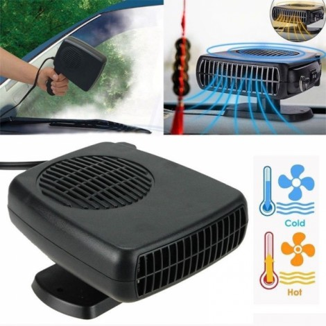 12V 200W 2 in 1 Auto Car Heater Heating Cooling Fan Defroster Demister for Vehicle Temperature Control Device Black