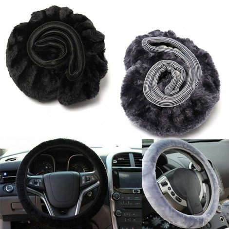 2pcs Warm Plush Winter Car Steering Wheel Cover Soft Auto Accessories Black & Gray