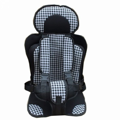 Portable Thickened Baby Child Safety Car Seat - Size L & Black Plaid