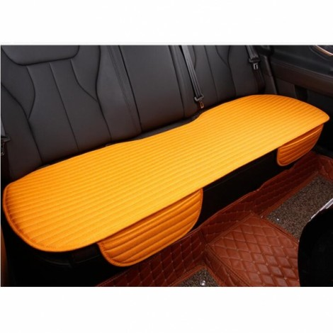 Universal Linen Ventilated Breathable Nonslip Car Backseat Rear Seat Cushion Cover Pad Mat - Bright Orange